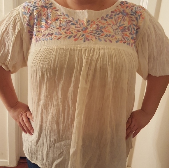 Plus Size Mexican Embroidered Peasant Top (new)